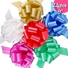 "Brobery 24Pcs Christmas Gifts Bows 9"" Wide 6 Colors Pull Bows for Big Gift Wrapping, Christmas Gift, Presents, Gift Basket Bag, Boxing Day, Home, Party, Holiday Decoration"